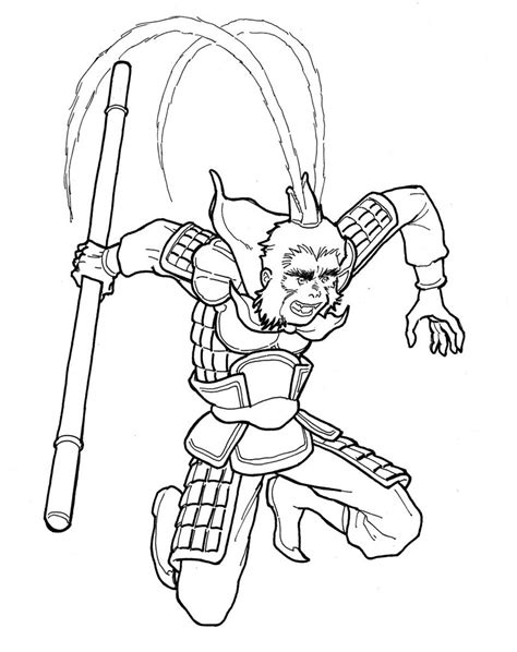 monkey kingdom coloring page sun wukong the monkey king 2 by lestervw on deviantart
