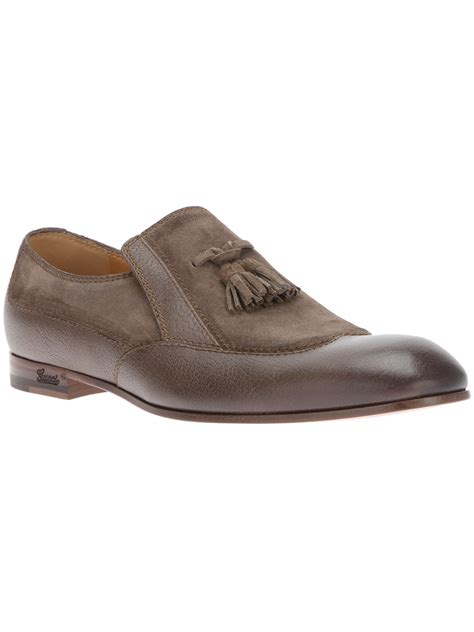 gucci brown loafers gucci tassel loafer in brown for lyst