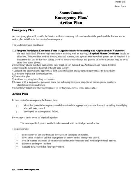 safety plan template bc scouts canada emergency plan plan printable pdf