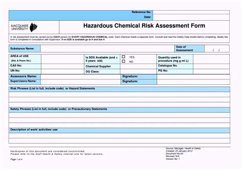 Chemical Risk Assessment Template chemical risk analysis template template update234 template update234