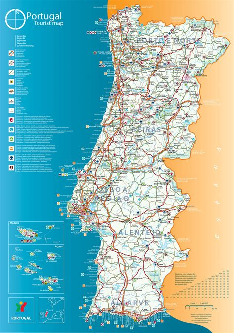 printable road map of portugal maps of portugal detailed map of portugal in english