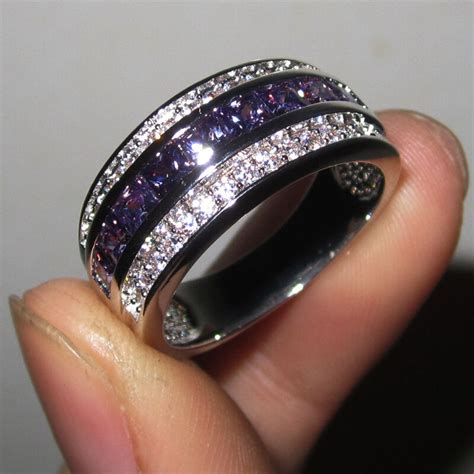 size   nice jewelry mens amethyst kt white gold