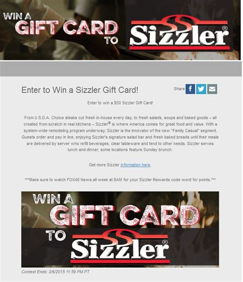 Sizzler Gift Card - sizzlers gift card lamoureph blog