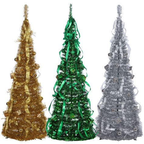 collapsible tinsel tree 5 ft homegear 5ft artificial decorated collapsible tree decoration ebay