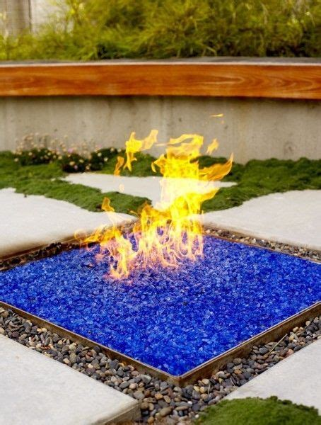 Enchanting Blue Glass Fire Pit Beautiful Gardens Glass Firepits