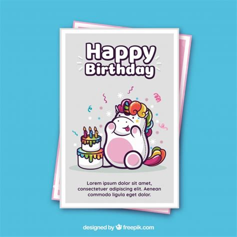 magic card template vector birthday card template with a unicorn vector free