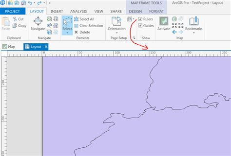 arcgis layout ruler margins and adding data to layout in arcgis pro
