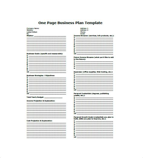 business one sheet template one page business plan template boblab us