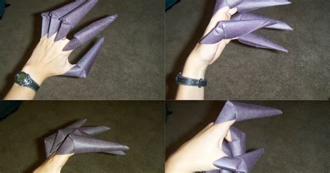 How To Make Origami Wolverine Claws - origami claw glove easy origami for crafts