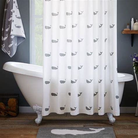 moby navy whale shower curtain