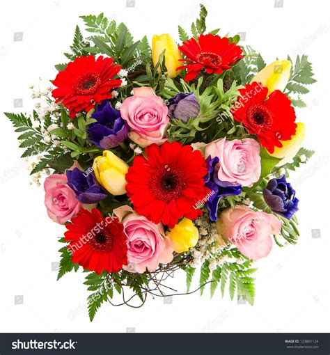 colorful spring flowers bouquet fresh colorful spring flowers bouquet pink stock photo