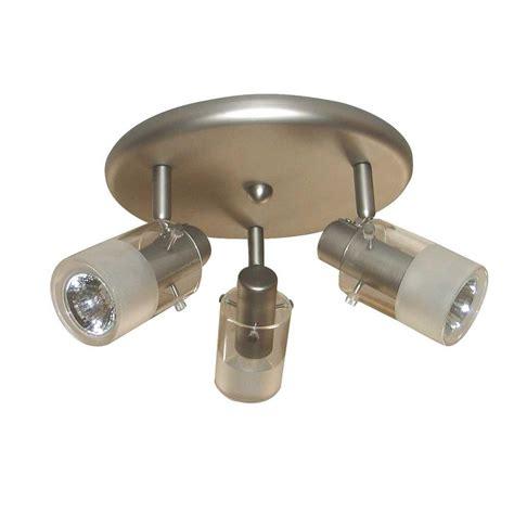 home depot kitchen lighting hton bay 3 light brushed steel ceiling mount round