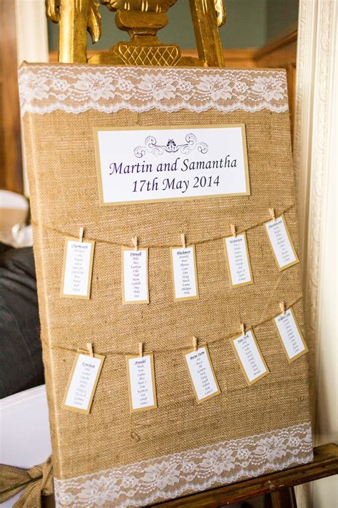 rustic themed wedding seating plan rustic burlap hessian and lace table plan seating chart