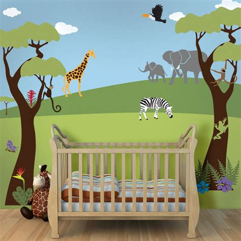 jungle baby room ideen tree mural jungle wall stencils for baby nursery wall