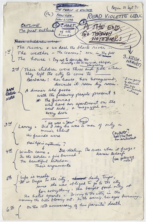 Novel List Ori New authors handwritten outlines for great works of literature flavorwire