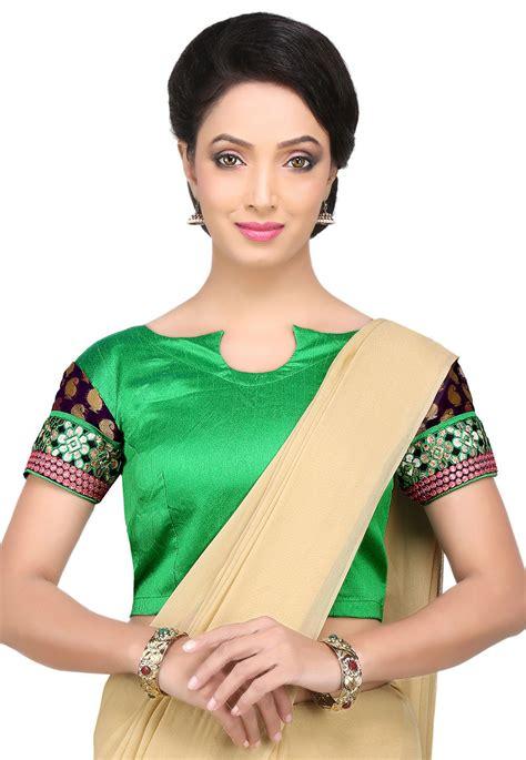Blouse Fashion Bordirr patch border silk blouse in green uub635