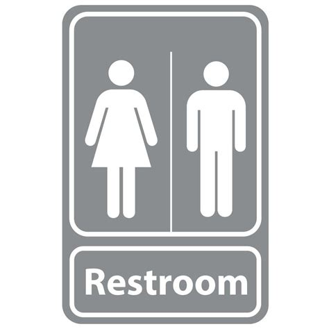 bathroom signs for the home rectangular plastic restroom sign pse 0049 the home depot