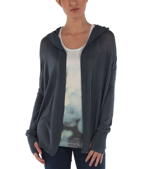 bench shrugs bench droptop hooded shrug top in blue navy lyst