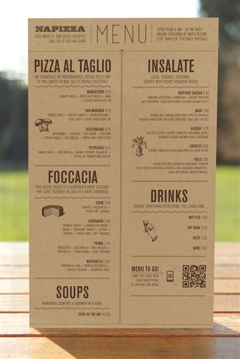 layout of a restaurant menu restaurant brand identity napizza miller creative