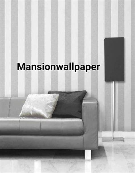 jual wallpaper dinding garis stripe putih silver  lapak