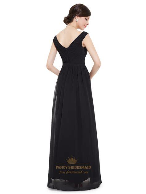 black chiffon floor length bridesmaid dress with