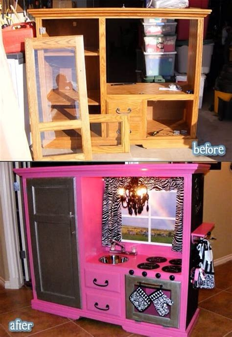 Play Kitchen From Old Furniture | repurpose old furniture into a cute girly play kitchen