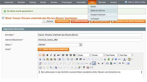 magento layout xml static block texthinweise im magento checkout statische bl 246 cke