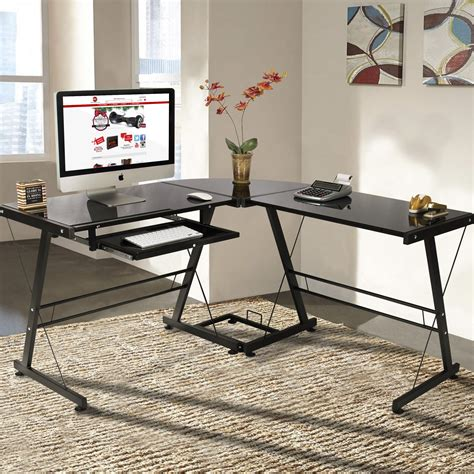 l shape computer desk pc glass laptop table workstation