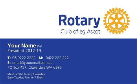 Rotary Membership Card Template by Home Page Rotary Club Of Ascot