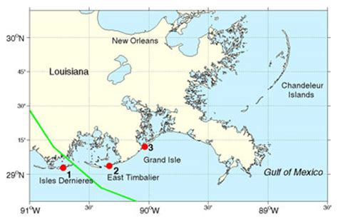 louisiana barrier islands map file map showing the track of hurricane gustav across the