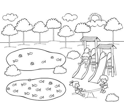 imagenes de niños jugando en un parque dibujo de ni 241 os jugando en el parque para pintar
