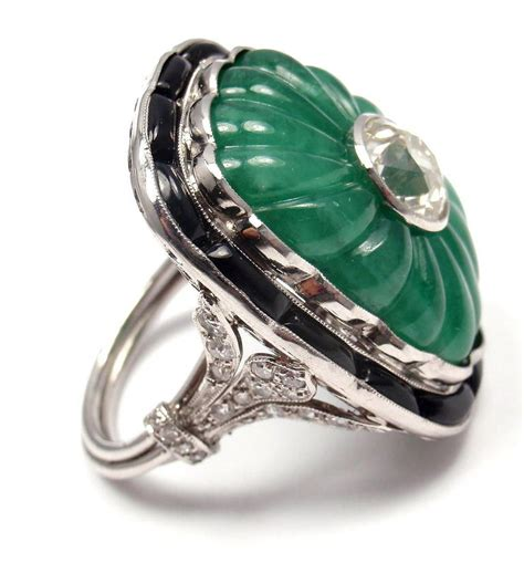 fluted carved emerald black onyx platinum ring at