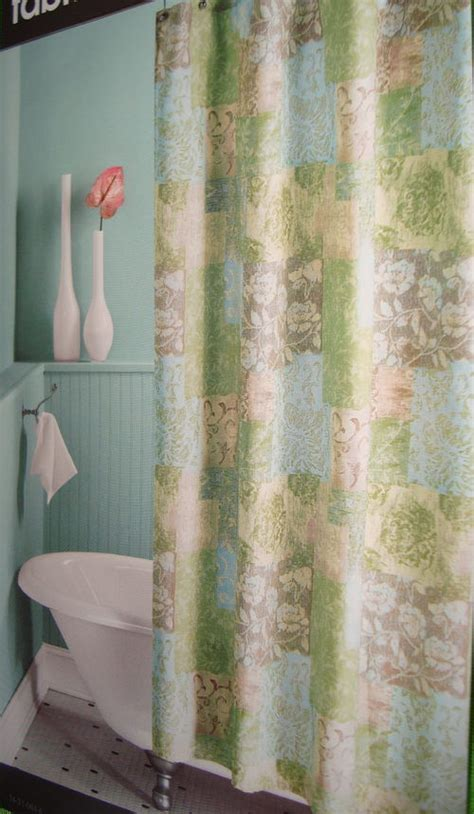 penneys shower curtains meadow green blue taupe jc penney fabric shower curtain