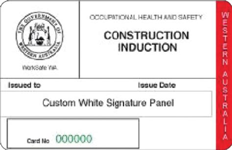australian id card template western australia construction induction card