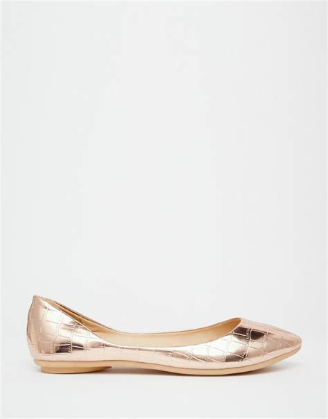 Sepatu Flat Shoes List Gold lyst lost ink bea gold textured ballerina flat shoes in metallic
