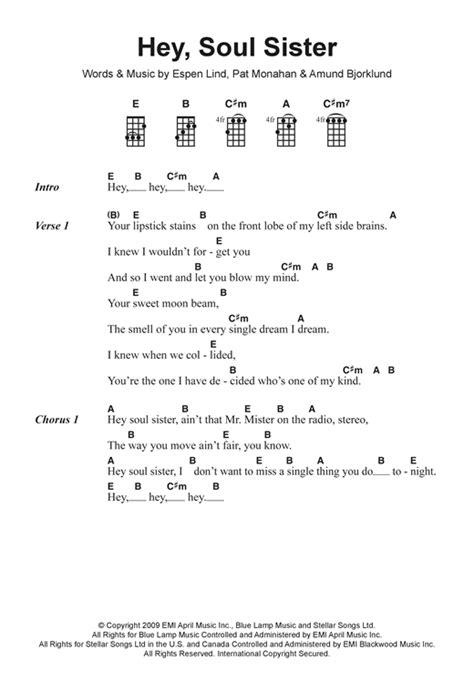 Ukulele Tutorial For Hey Soul Sister | hey soul sister sheet music by train ukulele lyrics