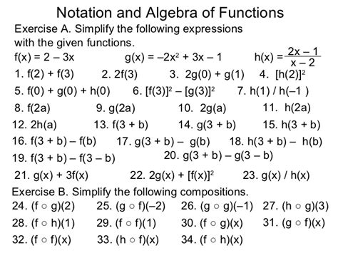 Algebra 1 Function Notation Worksheet Answers by 1 5 Notation And Algebra Of Functions