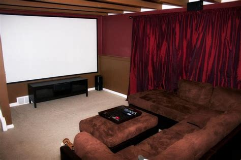 Living Room Theater Groupon Our Home Theater With A 123 Quot Screen Projector 7 1
