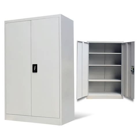metal cabinet with doors vidaxl co uk metal office cabinet 2 doors 140 cm grey