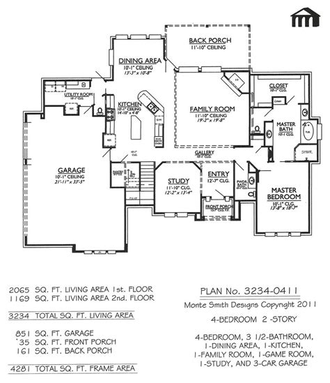 pretty 4 bedroom 2 story house plans on 3234 0411 square