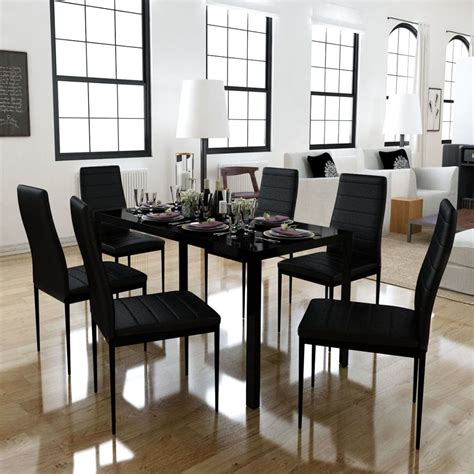 dining set 6 black chairs 1 table contemporary design