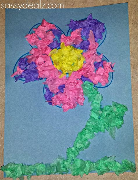 Tissue Paper Craft - easy tissue paper flower craft for crafty morning