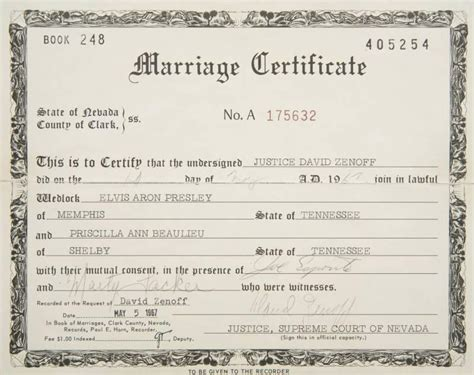 marriage certificate 1967 elvis and priscilla s marriage certificate