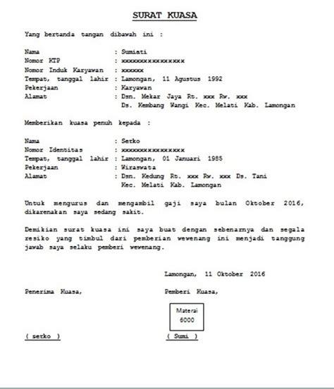 Contoh Surat Kuasa Pengambilan Dokumen by 12 Contoh Surat Kuasa Pengambilan Umum Khusus Beserta