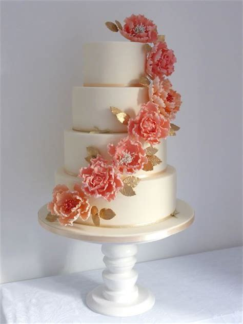 {Flora} Coral, Gold & Ivory Wedding Cake from Cookie