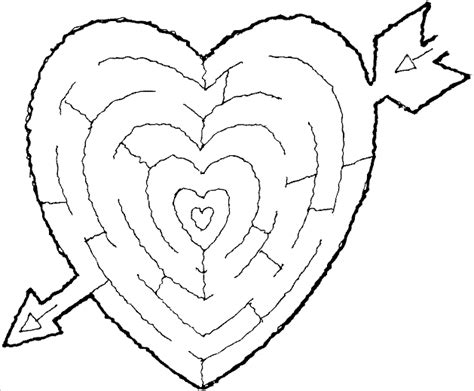printable heart maze free maze puzzle coloring pages