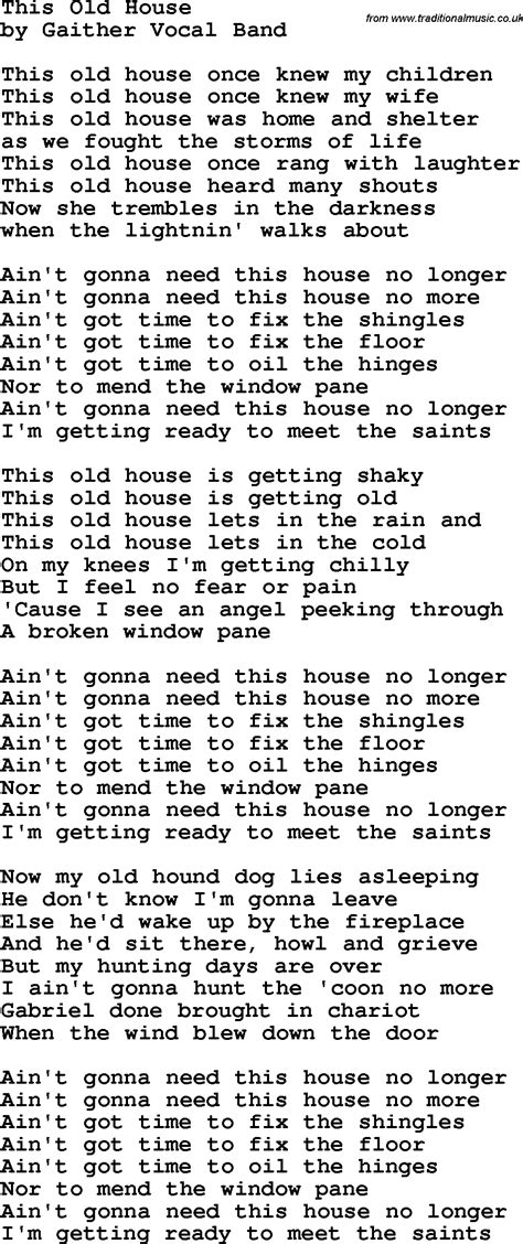 house music lyrics search country southern and bluegrass gospel song this old house lyrics