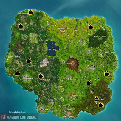 where fortnite cameras in front of 7 different cameras fortnite week 2