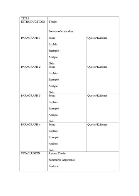 english essay planning template fill with bullet points