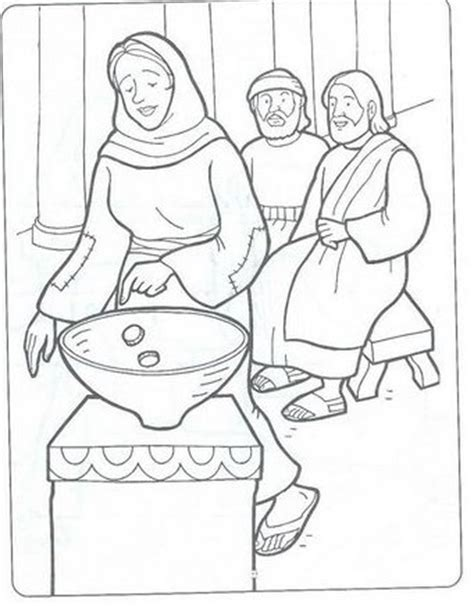 coloring pages jesus raising widow s the widow s mite 12 coloring bible nt gospels